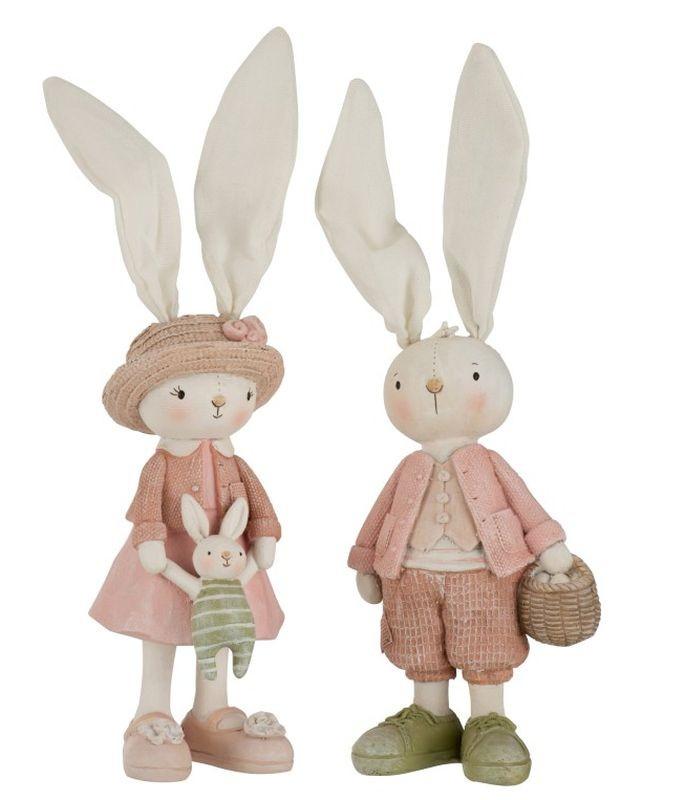 J-Line by Jolipa Dekorace králičí chlapec a dívka - 10*31cm