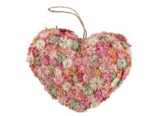 Závěsné jarní srdce se suchými květy - 16*5*14cm