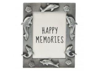 Stříbrný fotorámeček s delfíny - 4*5 cm