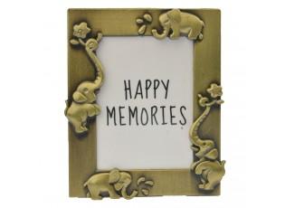 Zlatý fotorámeček se slony - 4*5 cm