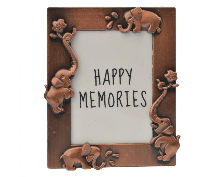 Měděný fotorámeček se slony - 4*5 cm