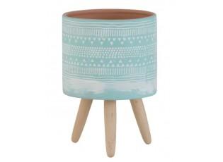 Mintový terakotový květináč na dřevěných nohách Ethnic - Ø13*20cm