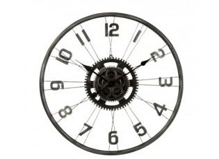 Šedé kovové nástěnné hodiny Bicycle  – Ø 60*5 cm / 1*AA