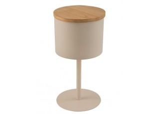 Béžový kovový odkládací stolek s dřevěným víkem - Ø30*59cm