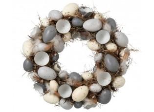 Velikonoční věnec s vajíčky a peříčky - Ø 35 cm