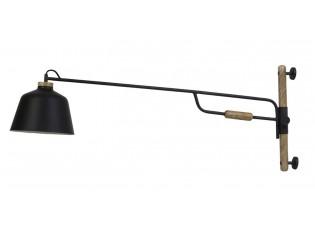 Černá kovová nástěnná lampa se dřevem Banu - 120*25*45 cm