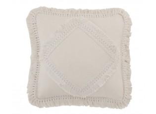 Smetanový bavlněný polštář Fransen s třásněmi - 45*45 cm