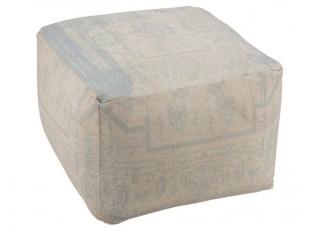 Béžovo-modrý hranatý puff Jacquard - 67*67*50cm