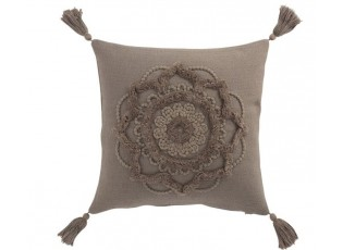 Taupe bavlněný polštář Fransen Blumen se střapci - 45*45 cm