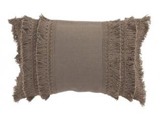 Taupe bavlněný polštář Fransen s třásněmi - 30*45 cm