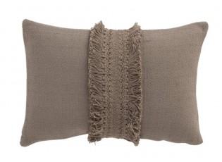 Taupe bavlněný polštář Fransen Rand s třásněmi - 30*45 cm