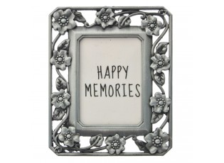 Stříbrný fotorámeček s kvítky - 4*5 cm