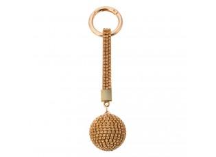 Zlatá klíčenka koule s kamínky - Ø 3,5*14,5cm