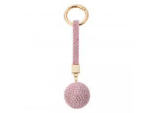 Růžová klíčenka s kamínky