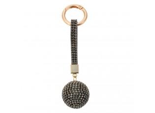 Černo - zlatá klíčenka koule s kamínky Venni - Ø 3,5*14,5cm