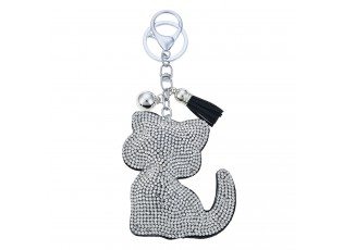 Klíčenka stříbrná kočička s kamínky