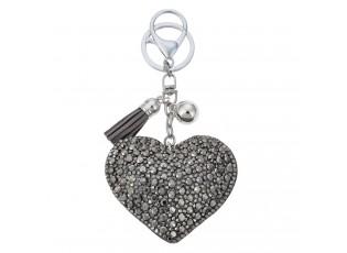 Klíčenka stříbrné srdce s kamínky