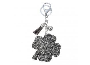 Klíčenka tmavě stříbrný čtyřlístek s kamínky