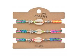 Set 3 ks barevných drhaných náramků s mušlí