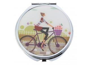 Stříbrné příruční zrcátko s dámou na kole - Ø 6 cm