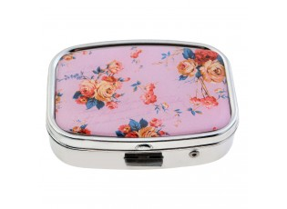 Plechová růžová květinová krabička na léky / bonbóny - 4*5.5 cm