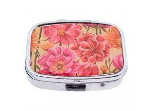 Plechová růžovo oranžová květinová krabička na léky / bonbóny - 4*5.5 cm