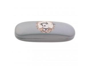 Šedo-modré pouzdro na brýle s pejskem Doggy - 16*6 cm