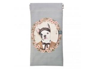 Šedo-modré pouzdro na brýle s pejskem Doggy - 9*18 cm