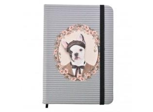 Šedo-modrý zápisník s pejskem Doggy- 14*10 cm