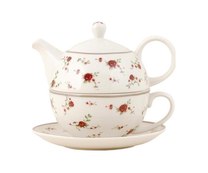 Konvička se šálkem Tea for one růžičky -0.40 L