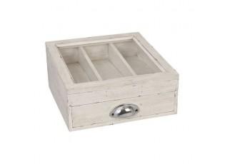 Dřevěný příborník s proskleným víkem - 30 * 30 * 15 cm