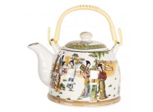 Porcelánová konvice na čaj s gejšami - 18*14*12 cm / 0,8L