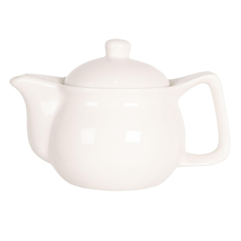 Levně Clayre & Eef Porcelánová bílá konvička na čaj - Ø 16*11 cm / 0,4L