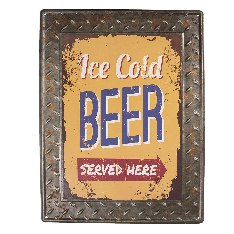 Clayre & Eef Plechová cedule Ice Cold Beer - 30*40 cm