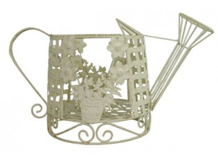 Kovový ozdobný krémový květináč s patinou - 50*22*28 cm cm