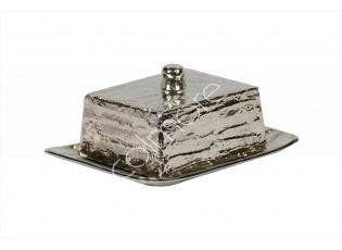 Stříbrná kovová máslenka Crushed - 20*13*9 cm
