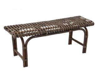 Dřevěná lavice s kovovýma nohama - 180*37,5*40 cm