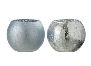 2ks modrý svícen na čajovou svíčku s popraskáním - Ø 12*10cm