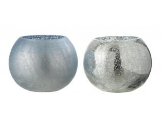 2ks modrý svícen na čajovou svíčku s popraskáním - Ø 15*12cm
