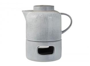 Modrá konvička s ohřevem na čajovou svíčku - Ø 17,5*1,5*19cm