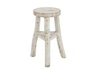 Dřevěná bílá kulatá stolička Ibiza - Ø 26*50cm