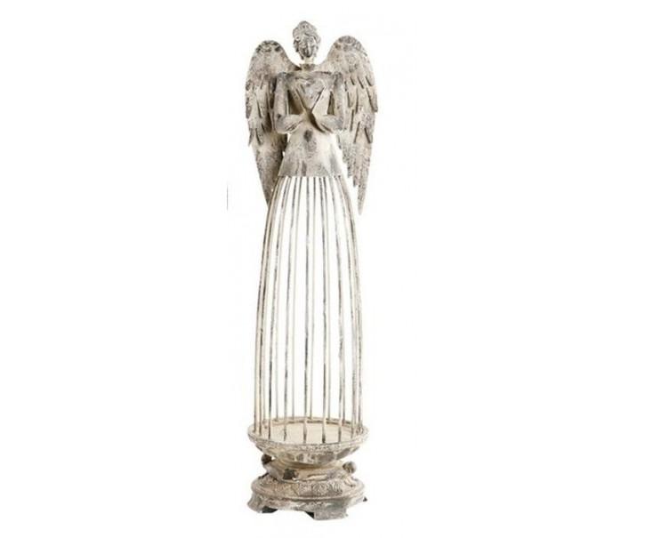Šedý kovový Anděl ArtFerro na svíčku  - 16*16*62 cm