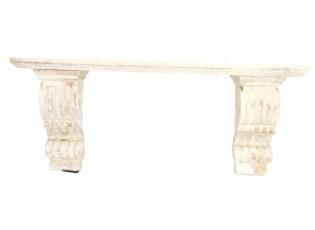 Bílá antik nástěnná dřevěná police - 61,8*16*25,6 cm