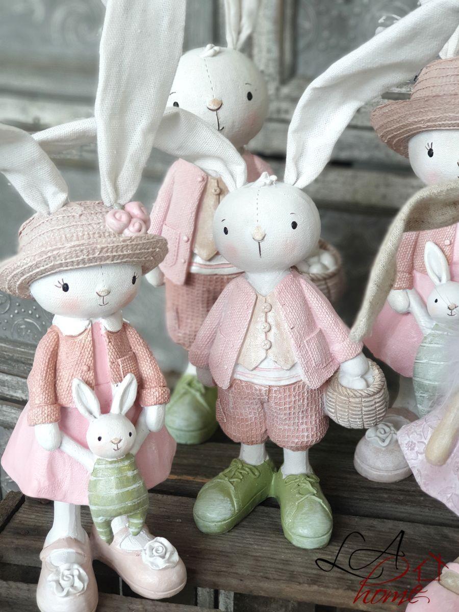 Produktové foto J-Line by Jolipa Dekorace králičí chlapec a dívka - 10*31cm
