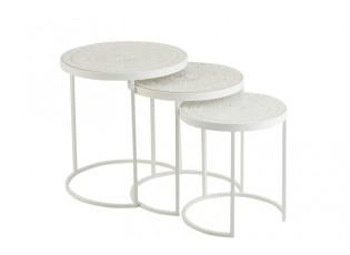 Set 3 bílých kovových stolků s ornamentovou deskou - Ø46*50 cm