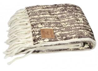 Krémovo-hnědý pléd s třásněmi Pinelake - 150*125 cm