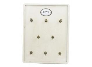 Bílý dřevěný věšák na klíče - 27*35 cm