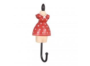 Háček červené šatičky s puntíky - 4*3*11 cm