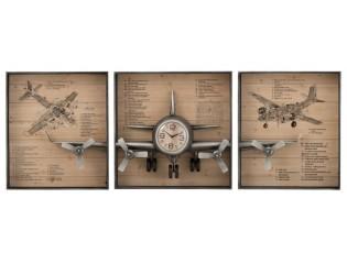 3 dřevěné nástěnné desky s hodinami a 3D letadlem - 207*12*75 cm