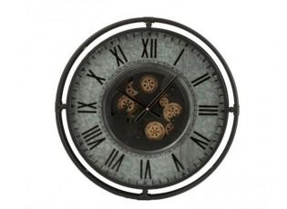 Kovové nástěnné hodiny s pohyblivým strojkem Romani - ∅68*10cm
